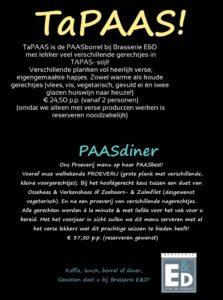 Beide PAASdagen weer TaPAAS bij Brasserie E&D!